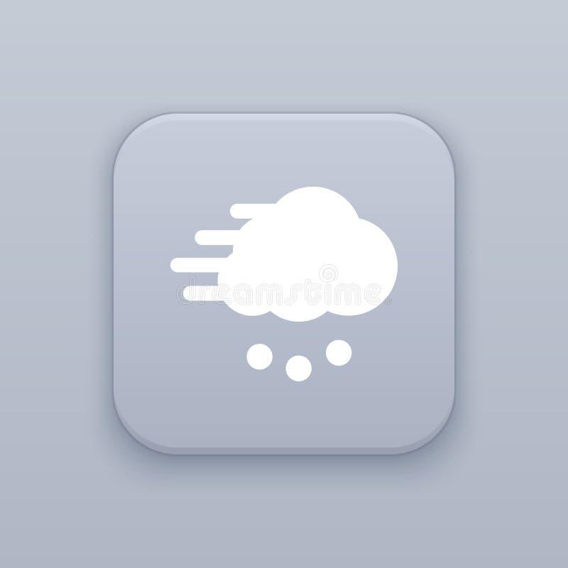 Blizzard, Wind und Schnee, grauer Vektorknopf mit weißer Ikone lizenzfreie abbildung