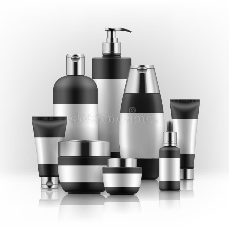 Bllack en zilveren kosmetische containers royalty-vrije illustratie