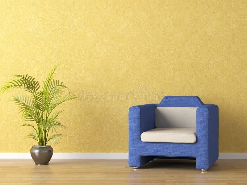 Bllue Couch auf gelber Wand lizenzfreie abbildung
