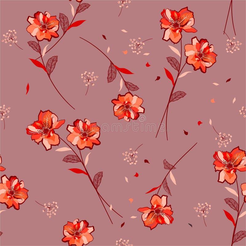 Bllwing botanico del modello floreale arancio fresco d'avanguardia nei motivi del vento ha sparso casuale Struttura senza giunte  illustrazione vettoriale