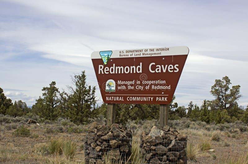 BLM Redmond Caves Information Sign immagine stock libera da diritti