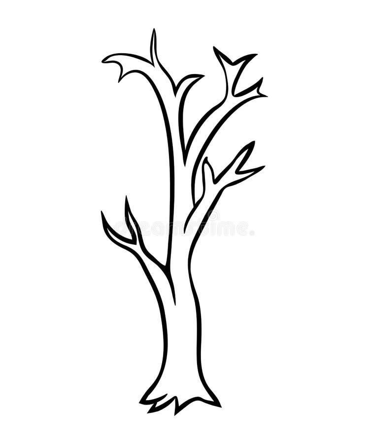 Bloßes Baumkarikaturentwurfs-Vektordesign lokalisiert auf weißem backgr lizenzfreie abbildung