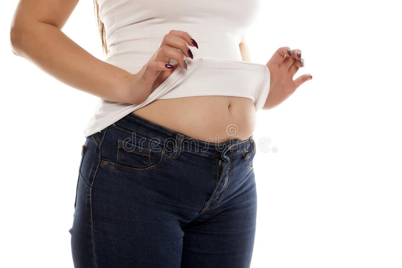 Bloated stomach royalty free stock photo