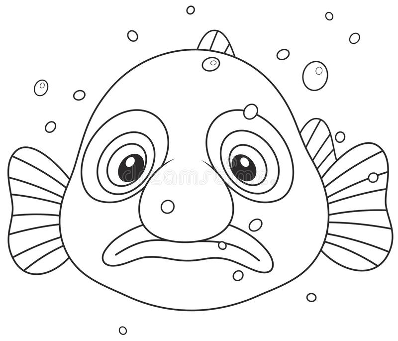 Blob fish. Black and white vector illustration of an exotic deep-sea blobfish with a sad face royalty free illustration
