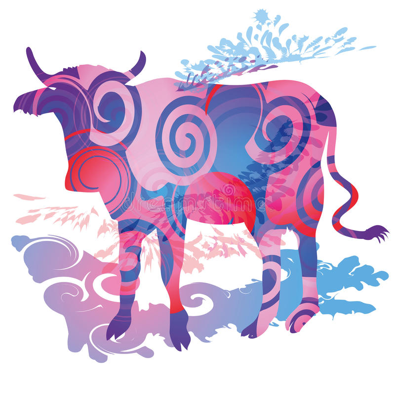 Blobs and cow. Blobs, cow, animal and background stock illustration