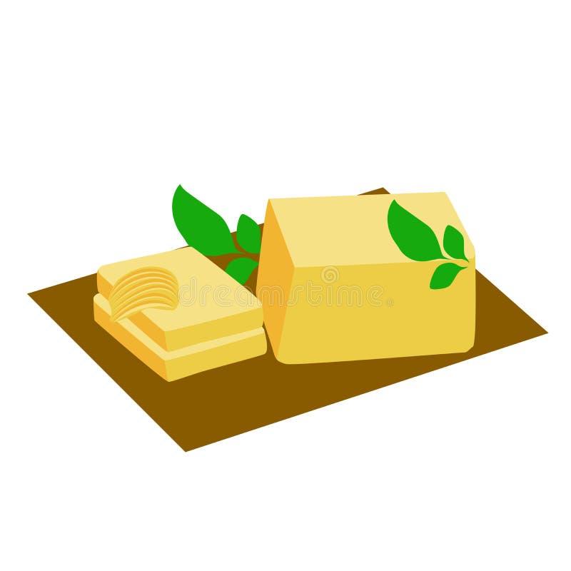 Bloc de beurre illustration de vecteur
