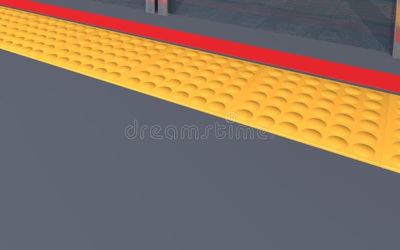 Bloc de Braille sur la route et la ligne rouge photos libres de droits