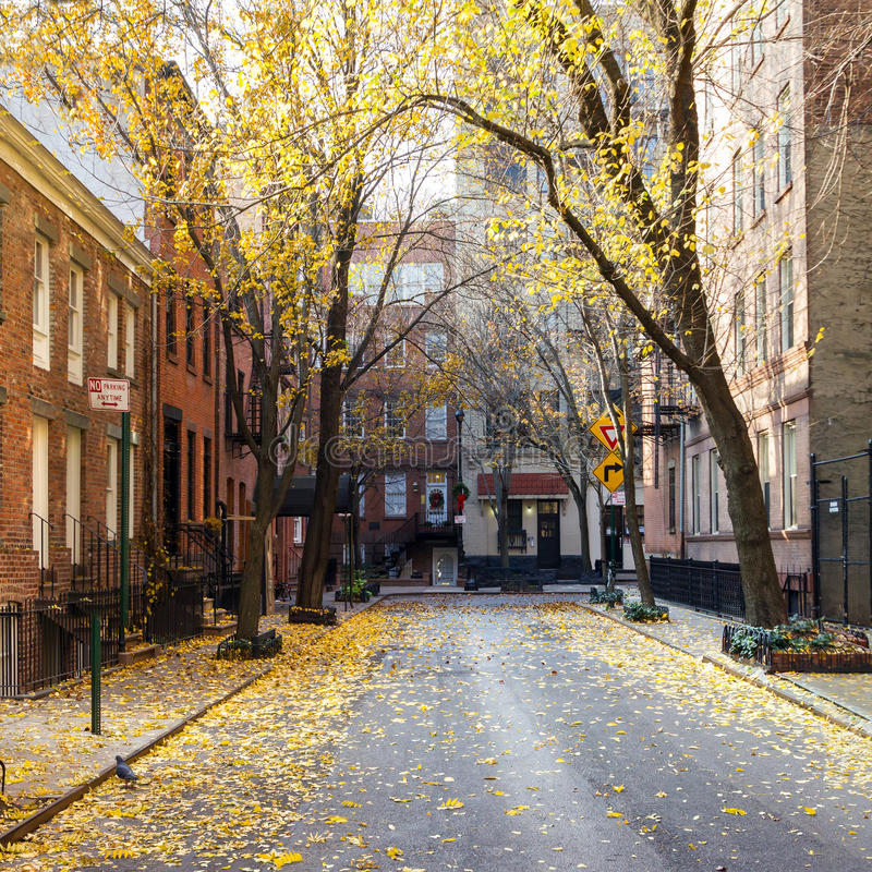 Bloc de New York City dans le voisinage de Greenwich Village de NYC image stock