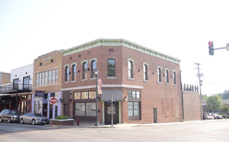 Bloc de ville du centre de Jonesboro Arkansas images libres de droits