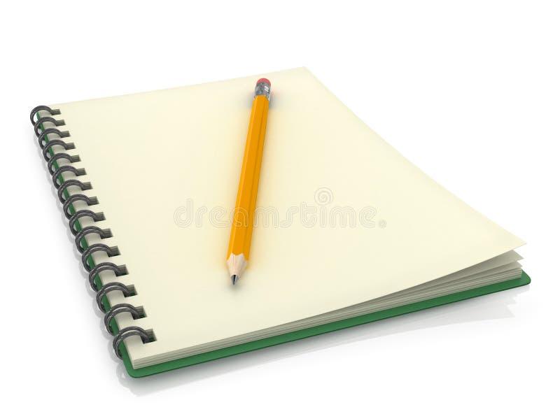 Bloc-notes avec le crayon illustration stock