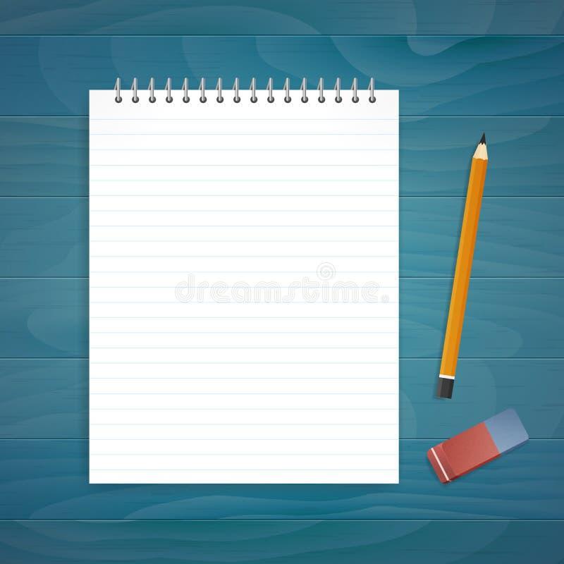 Bloc-notes avec le crayon et la gomme sur le bureau bleu en bois de planche illustration stock