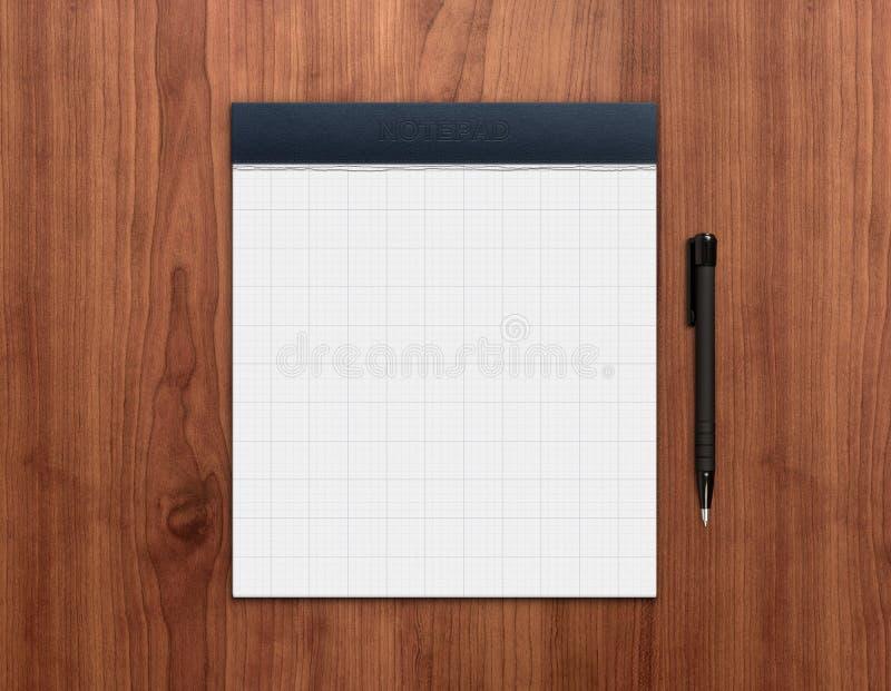 Bloc-notes avec le crayon lecteur sur le bureau images libres de droits