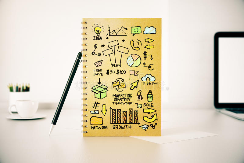 Download Bloc-notes Avec Le Croquis De Vente D'affaires Illustration Stock - Illustration du management, accroissement: 77162203