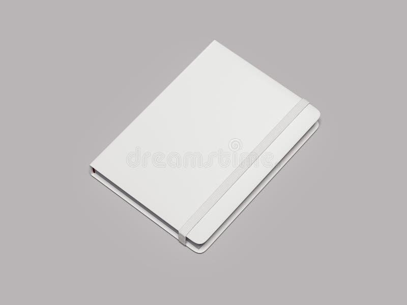 Bloc-notes blanc avec l'élastique blanc sur le fond blanc, rendu 3d illustration libre de droits