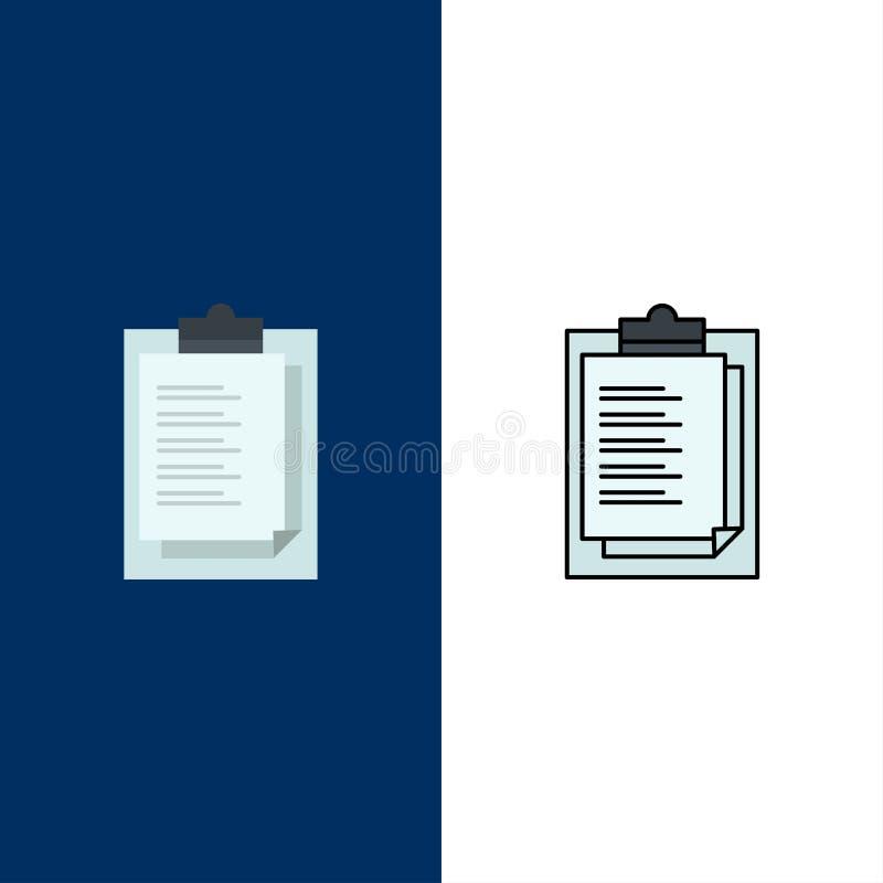 Bloc-notes, bulletin, résultat, icônes de présentation L'appartement et la ligne icône remplie ont placé le fond bleu de vecteur illustration stock