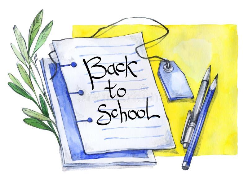 Bloc-notes d'aquarelle, stylo, crayon, floral et texte Mots de calligraphie de nouveau à l'école Fond d'éducation de vintage illustration libre de droits