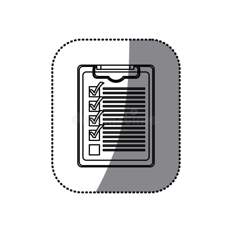 Download Bloc-notes De Table De Silhouette D'autocollant Avec La Liste De Contrôle Illustration Stock - Illustration du repère, illustration: 87704170