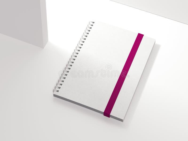 Bloc-notes fermé blanc sur le fond blanc, rendu 3d illustration stock