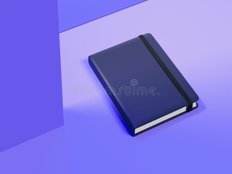 Bloc-notes foncé sur le fond violet, rendu 3d illustration stock