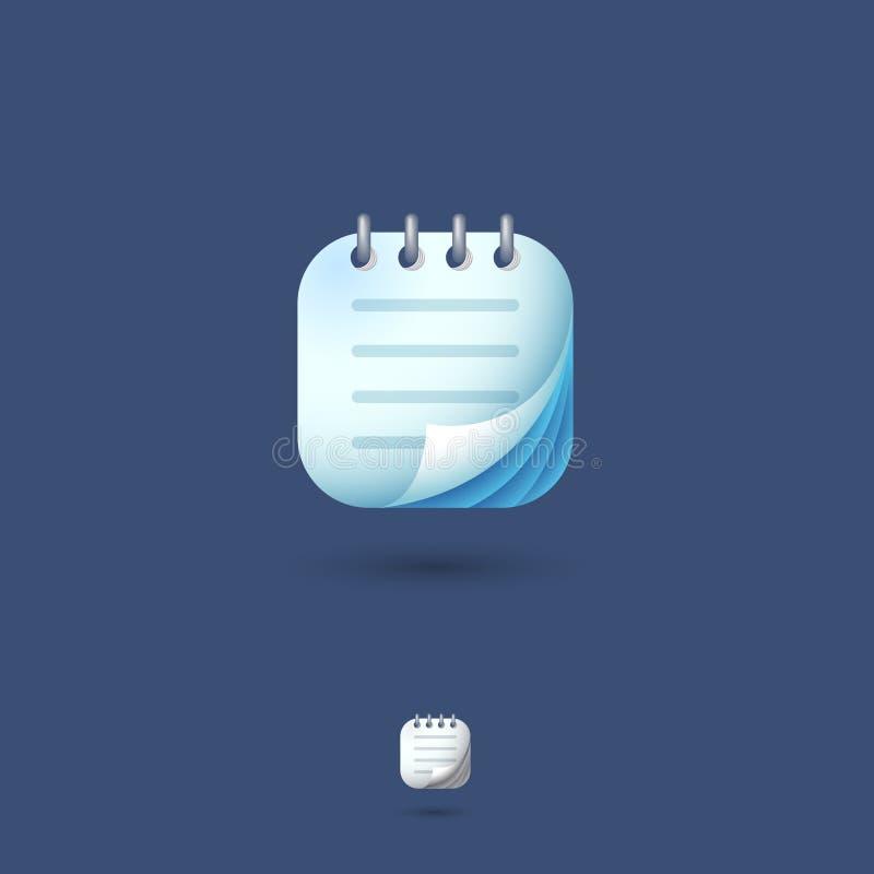 Bloc-notes, icône du carnet UI Carnet, notes, organisateur, emblème de note Place arrondie sur un fond blanc Graphisme de Web illustration stock