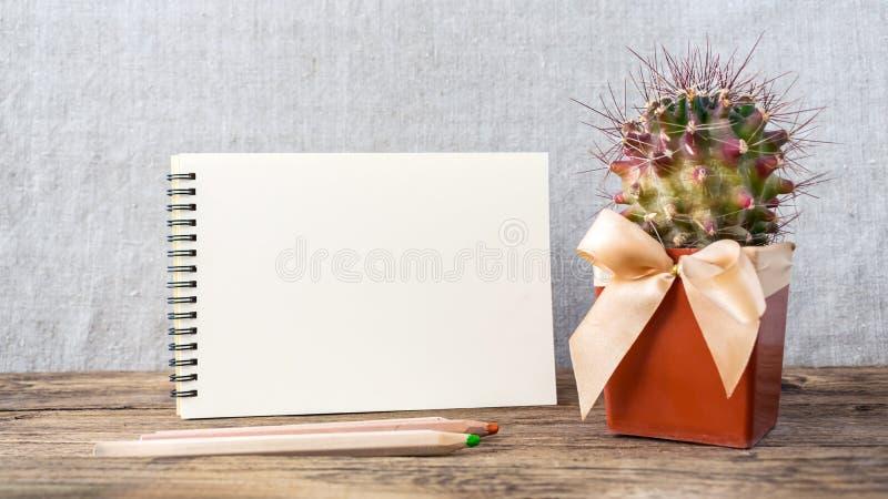 Bloc-notes vide blanc, carnet, crayons colorés en bois et vert image libre de droits