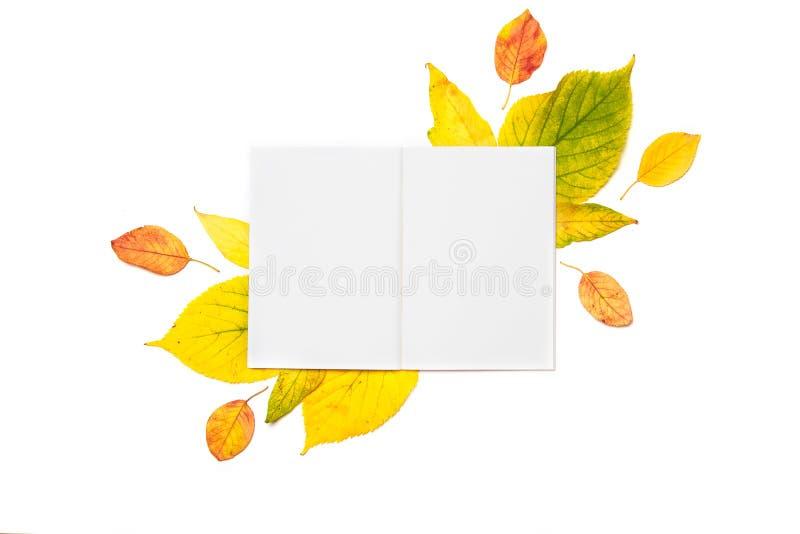 Bloc-notes vide pour écrire ou pour une liste de souhaits sur un fond d'automne des feuilles colorées d'isolement sur le blanc image libre de droits