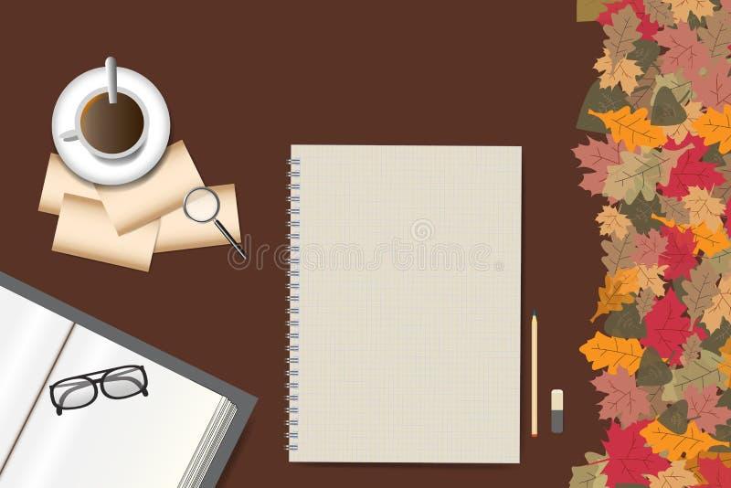 Bloc-notes vide sur la table de conception d'automne illustration de vecteur
