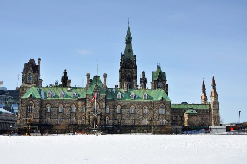 Bloc occidental de bâtiment du Parlement en hiver, Ottawa, Canada images libres de droits