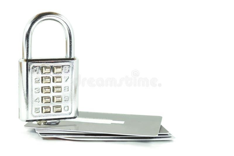 Blocage de combinaison de Digitals sur des cartes de crédit d'isolement photographie stock libre de droits