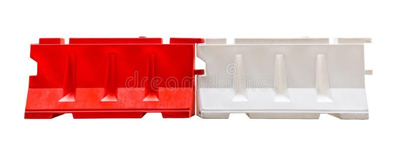 Blocage en plastique rouge et blanc de barrières photo libre de droits