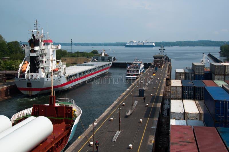 Blocages à la sortie du canal de Kiel, Allemagne photographie stock