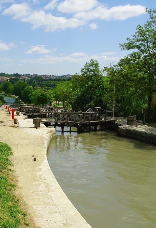Blocages du canal du Midi photo libre de droits
