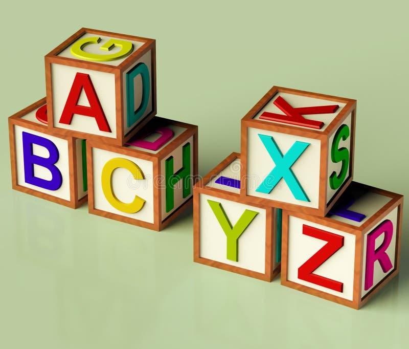 Blocchetti dei bambini con il ABC e Xyx fotografie stock