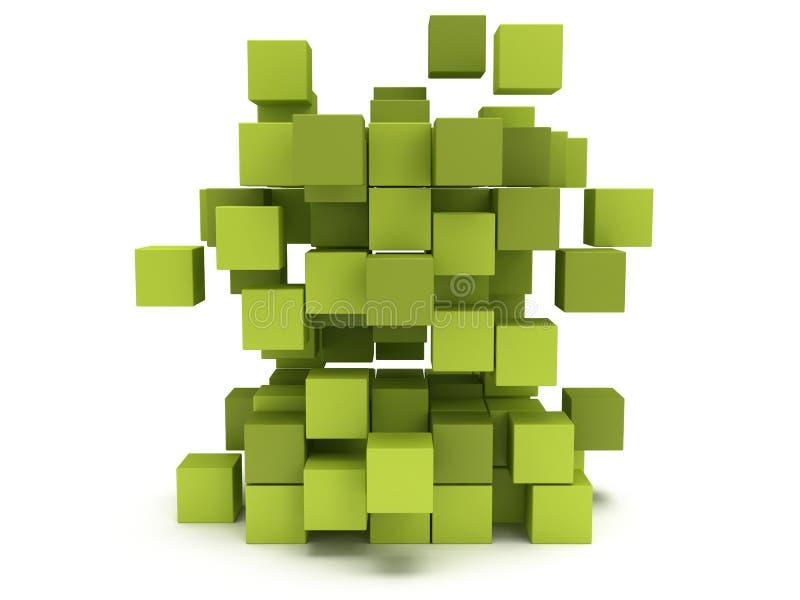 Blocchetto dei cubi di esplosione Concetto di montaggio illustrazione di stock