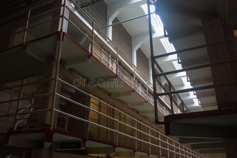 Blocchetto delle cellule nella prigione di Alcatraz fotografie stock libere da diritti