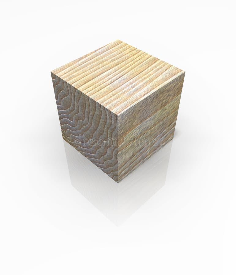 Blocchetto di legno isolato del cubo illustrazione vettoriale