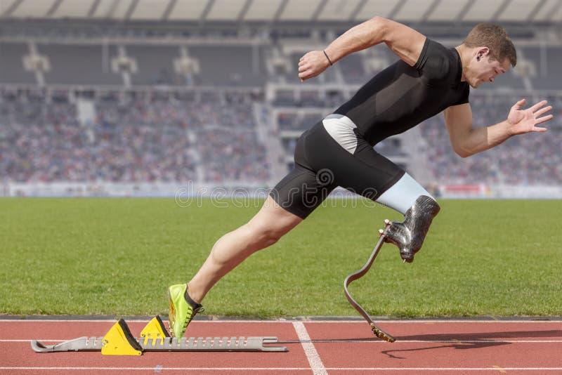 Blocchetto disabile di inizio dello sprinter fotografia stock libera da diritti
