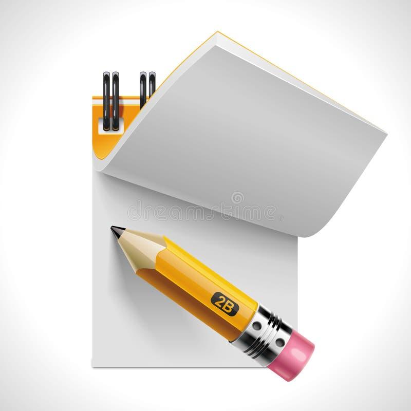 Blocchetto per appunti aperto di vettore con l'icona della matita XXL illustrazione di stock