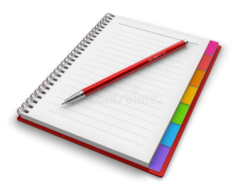 Blocchetto per appunti dell'ufficio con la penna di ballpoint illustrazione di stock