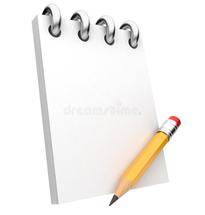 Blocchetto per appunti e matita. illustrazione 3D. Isolato illustrazione di stock