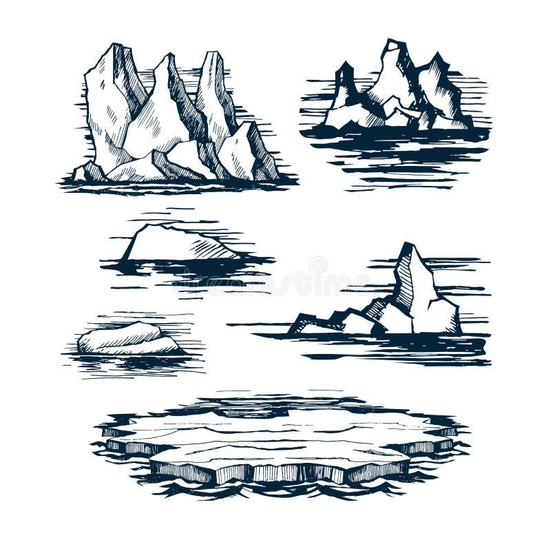 Blocchi di ghiaccio dell'iceberg illustrazione di stock