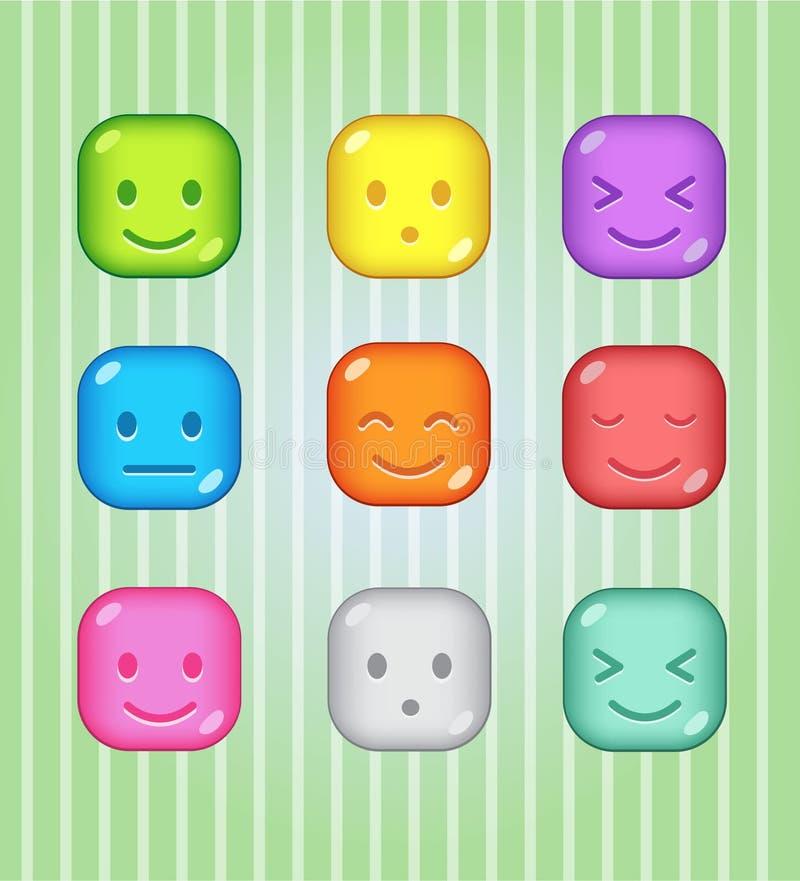 Blocchi la gelatina lucida del bottone variopinto della caramella di puzzle nel colore differente illustrazione vettoriale