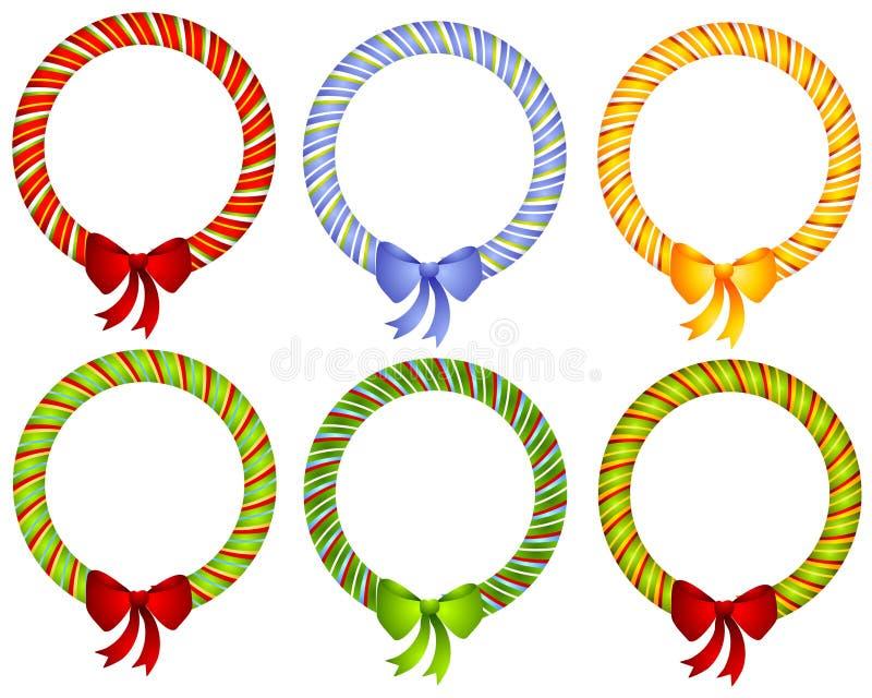 Candy Cane Wreath Bow Frames fotografie stock libere da diritti
