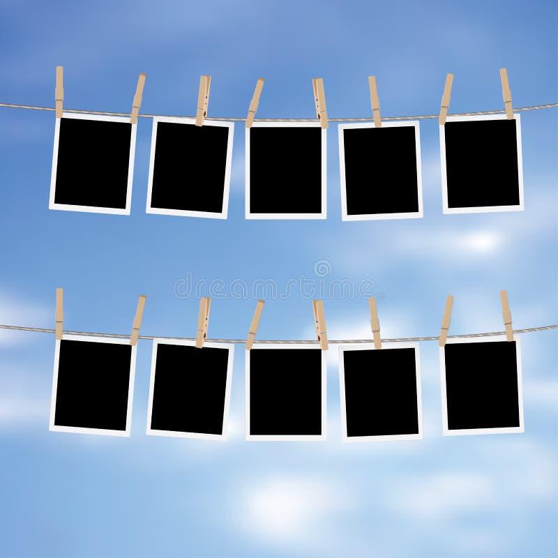 Blocchi per grafici della foto sulla corda illustrazione di stock