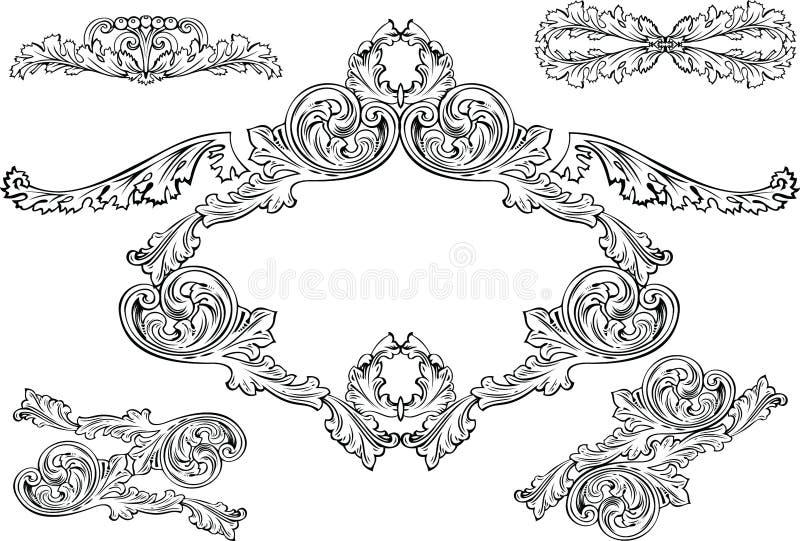 Blocchi per grafici di Barocco dell'annata ed elementi di disegno illustrazione vettoriale
