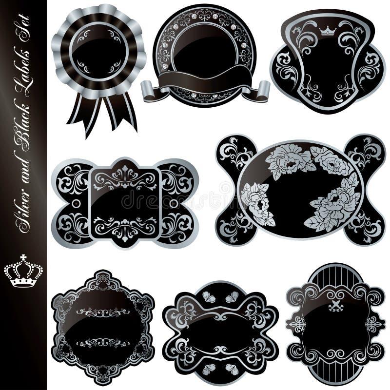 Blocchi per grafici di lusso d'argento e neri impostati royalty illustrazione gratis