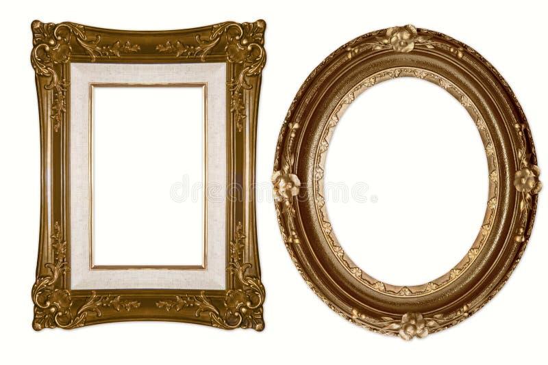 Blocchi per grafici dorati decorativi ovali e rettangolari immagini stock