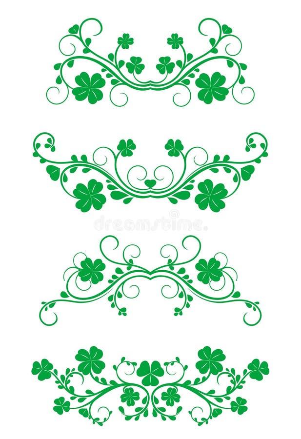 Blocchi per grafici floreali con il trifoglio illustrazione di stock