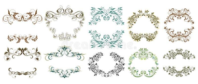 Blocchi per grafici floreali dell'annata illustrazione di stock