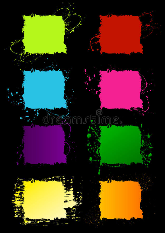 Blocchi per grafici quadrati di Grunge illustrazione vettoriale